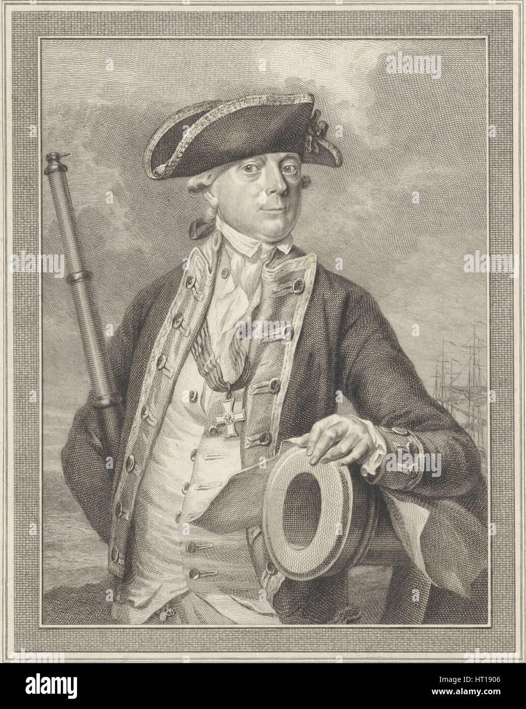 Admiral Jan Hendrik van Kinsbergen (1735-1819), Count of Doggersbank, 1781. Artist: Vinkeles, Reinier (1741-1816) - Stock Image