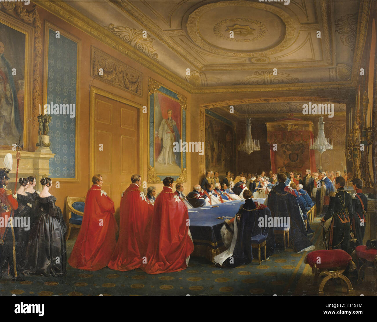 Louis-Philippe receiving the Order of the Garter from the hands of a young Queen Victoria, 1844. Artist: Gosse, - Stock Image