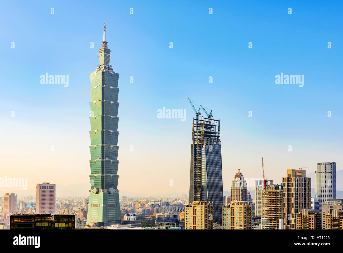 TAIPEI, TAIWAN - NOVEMBER 11: View of Taipei 101 world trade center building and modern architecture in the downtown - Stock Image
