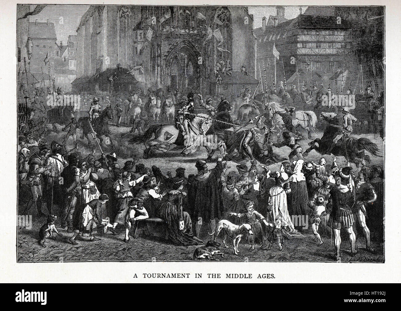 A Tournament in the Middle Ages, 1882. Artist: Brend'amour, Richard (1831-1915) - Stock Image