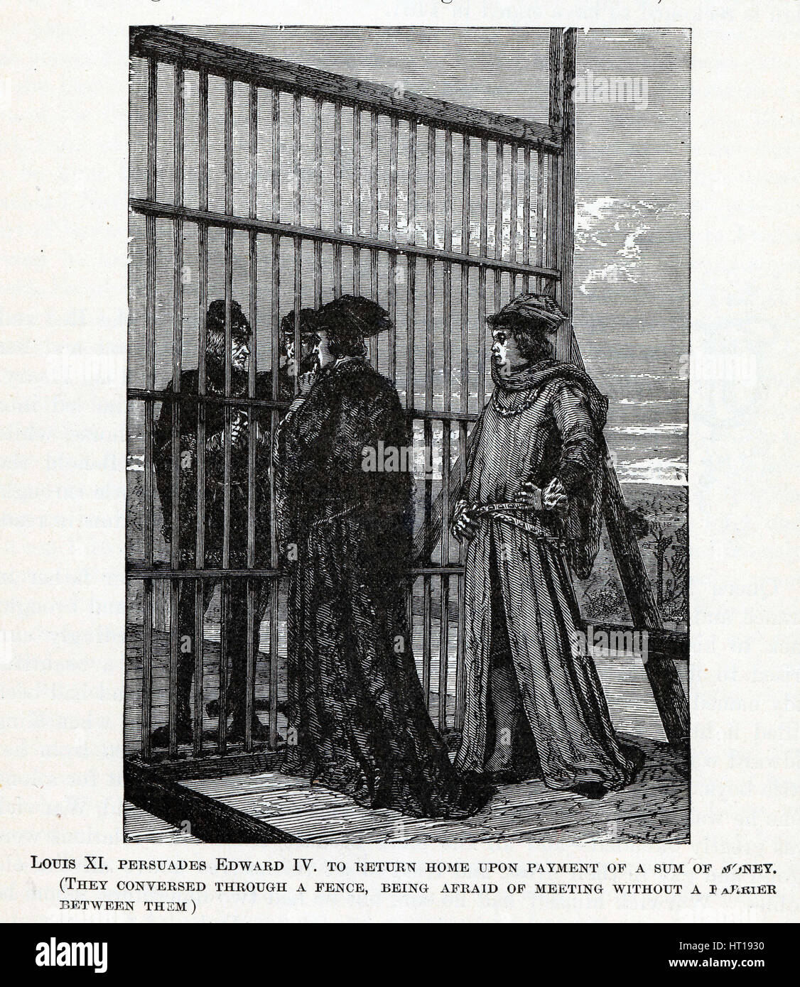 Louis XI persuades Edward IV to return home of a sum of money, 1882. Artist: Anonymous - Stock Image