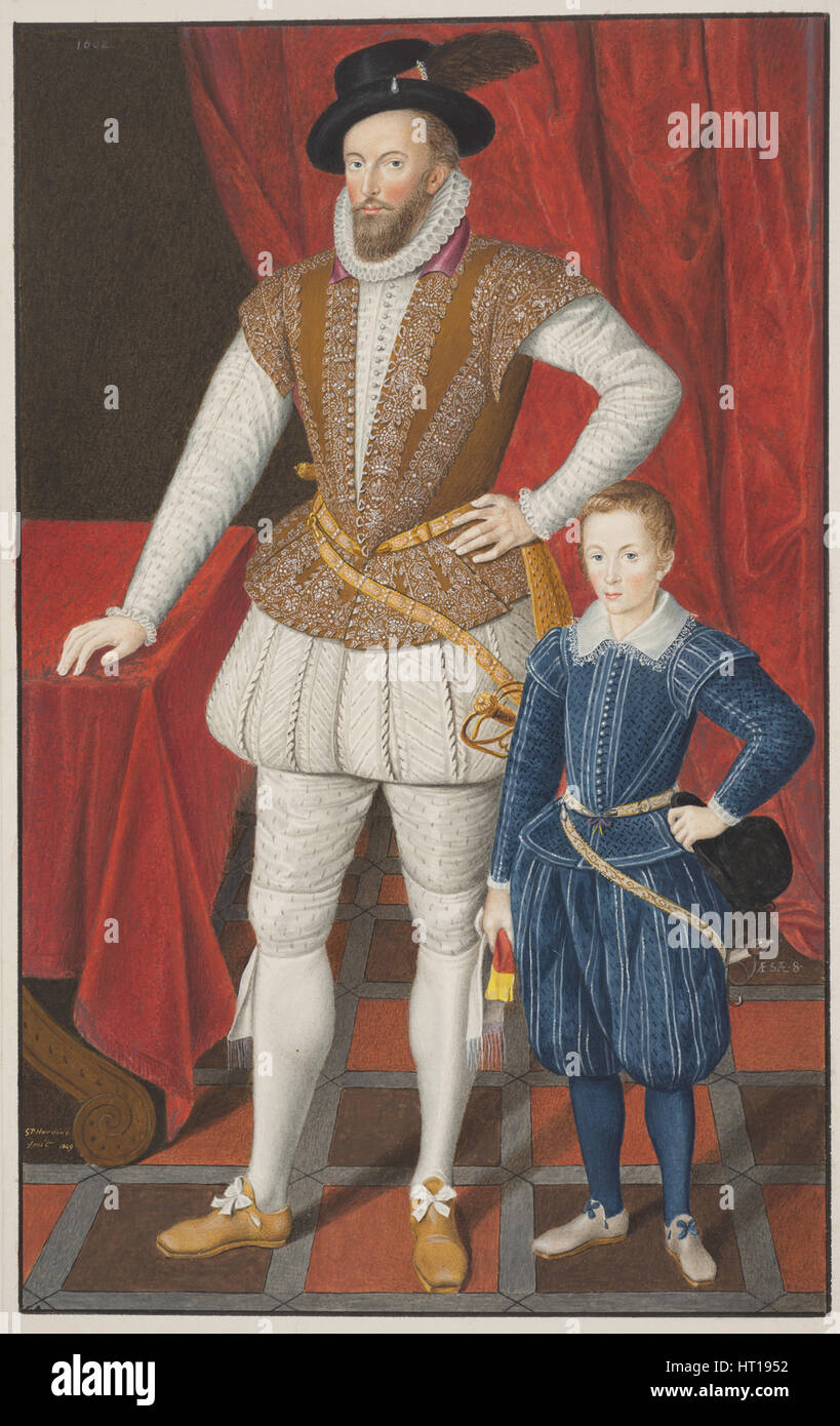 Sir Walter Raleigh and son, 1602. Artist: Anonymous - Stock Image