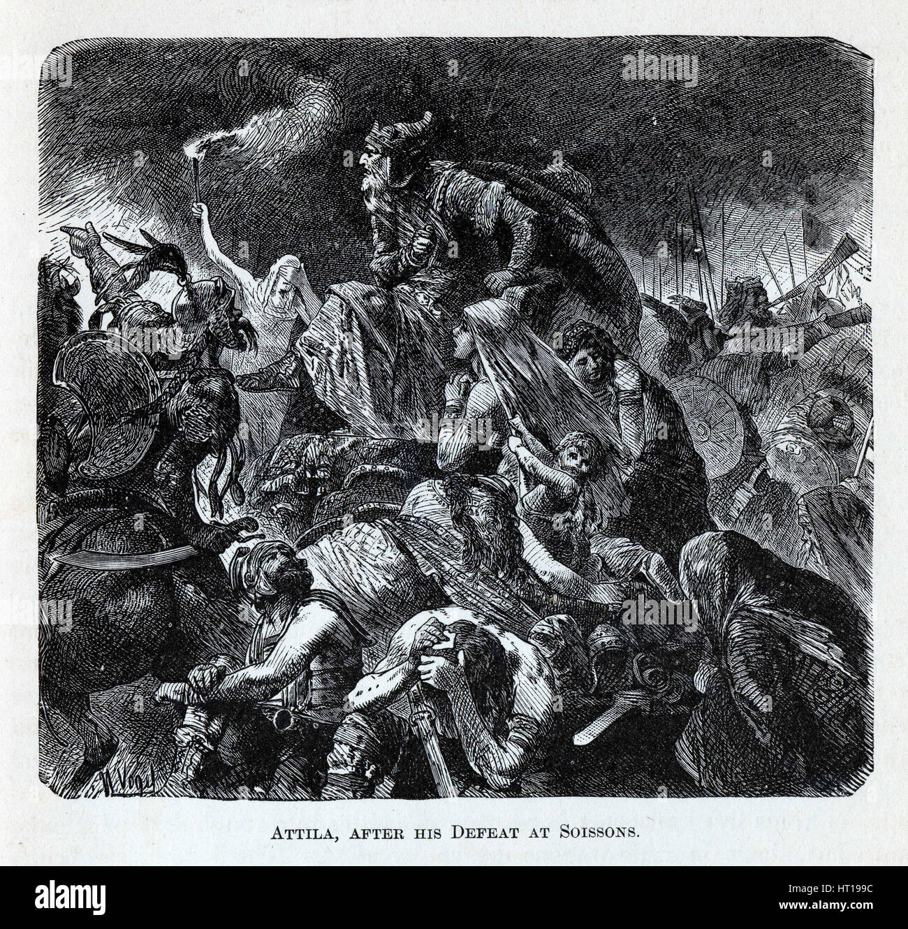 Attila after his Defeat at Soissons, 1882. Artist: Vogel, Hermann (1854-1921) - Stock Image