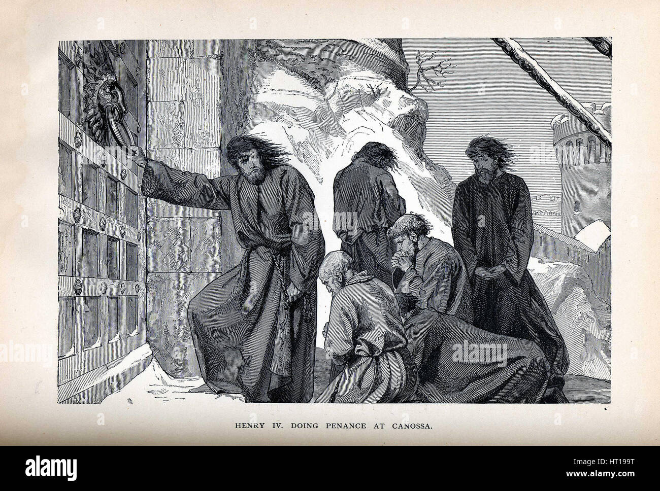Henry IV Doing Penance at Canossa, 1882. Artist: Anonymous - Stock Image