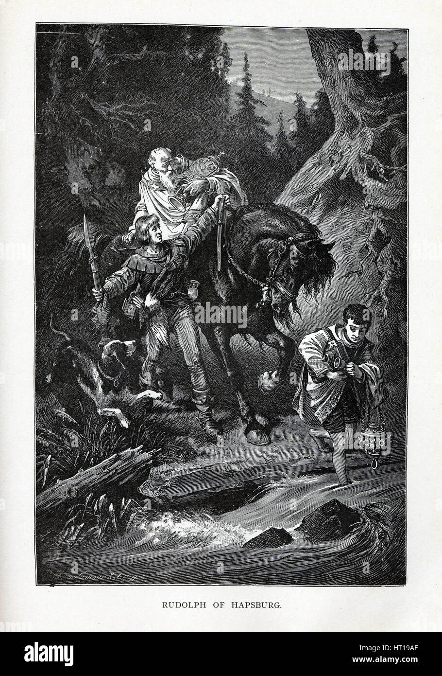 Rudolph of Habsburg and the Priest, 1882. Artist: Brend'amour, Richard (1831-1915) - Stock Image