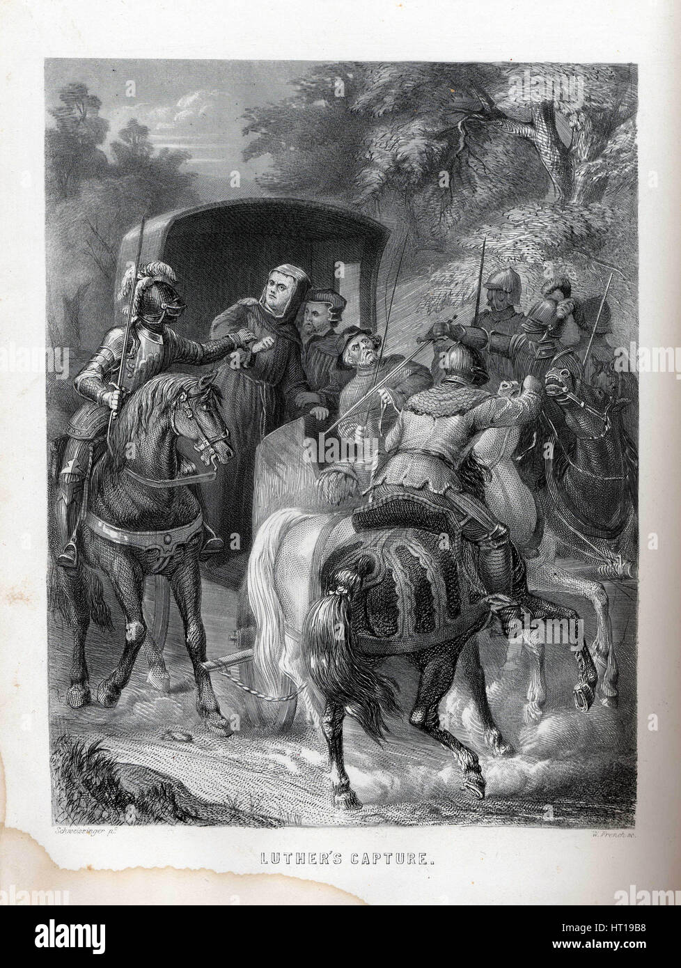 Luther's Capture, 1882. Artist: Schweissinger, G. (active End of 19th cen.) - Stock Image