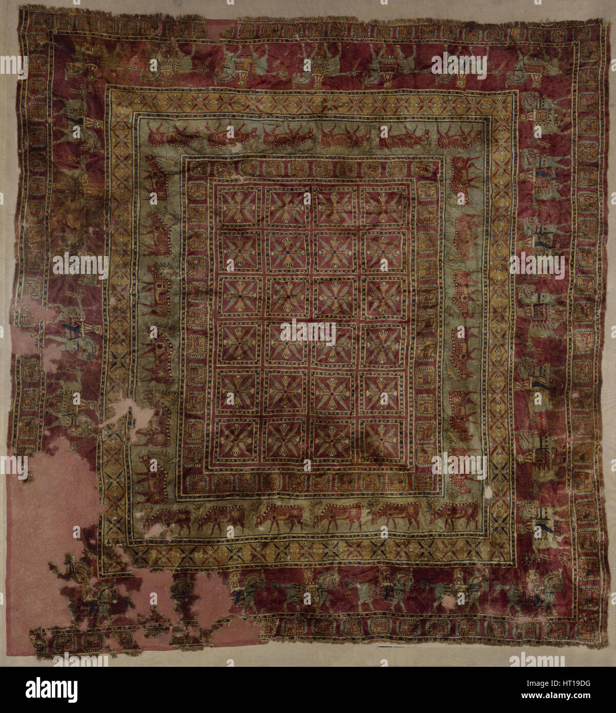 Pile Carpet, 5th-4th century BC. Artist: Ancient Altaian, Pazyryk Burial Mounds - Stock Image