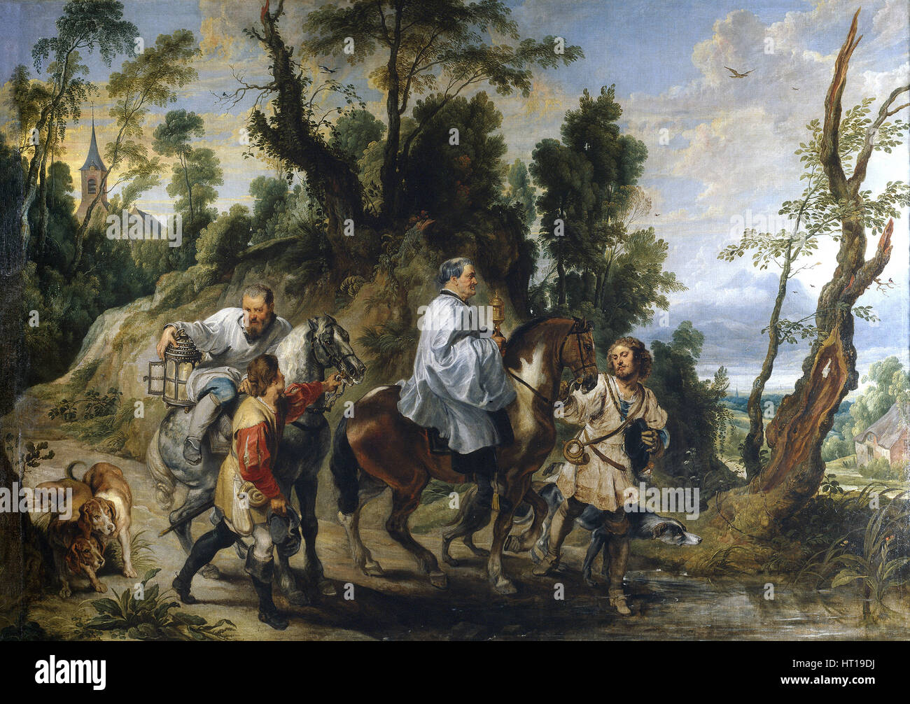 Rudolph of Habsburg and the Priest, ca 1625. Artist: Wildens, Jan (1586-1653) - Stock Image