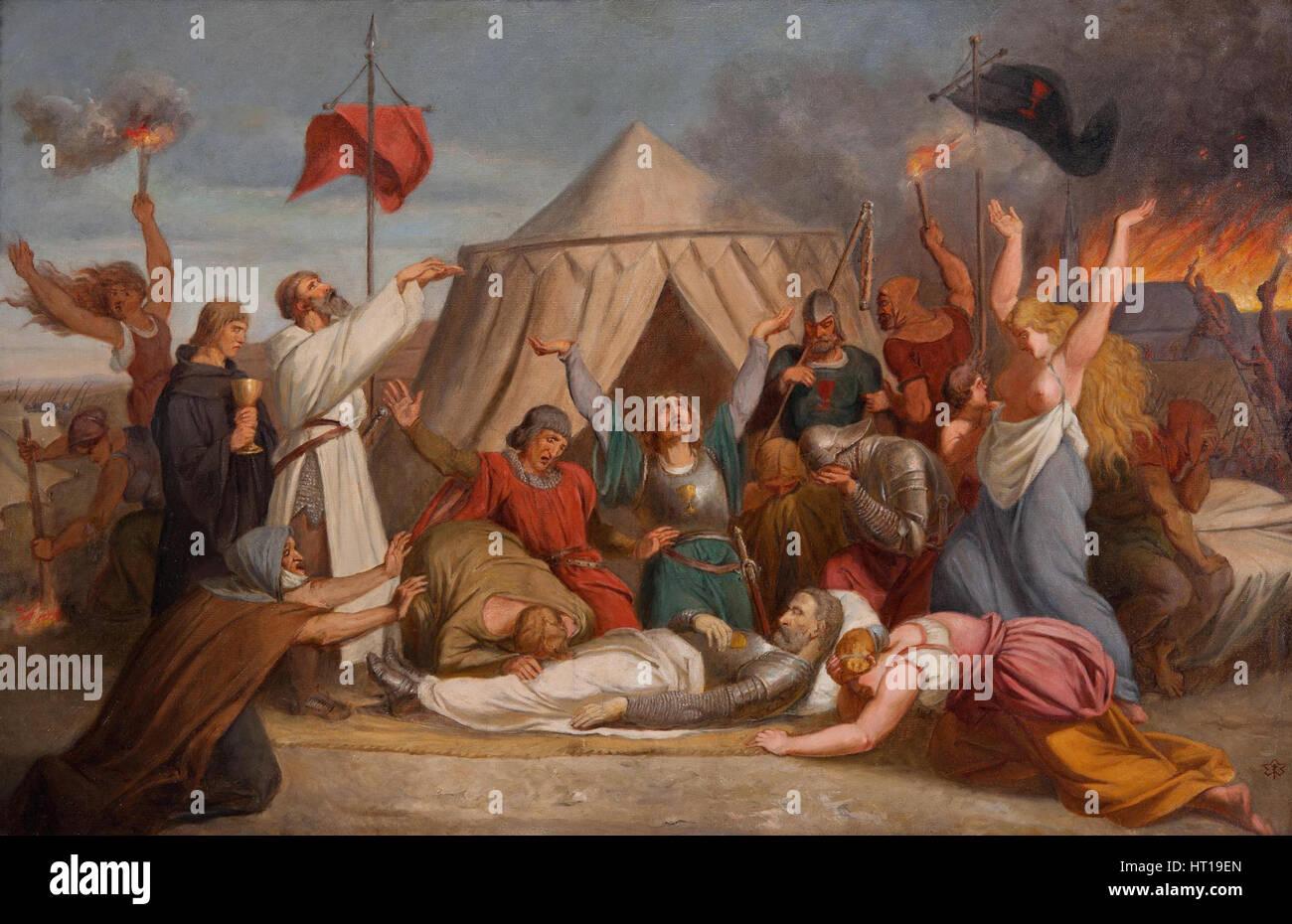 The Death of John Zizka, c. 1850. Artist: Javurek, Karel (1815-1909) - Stock Image