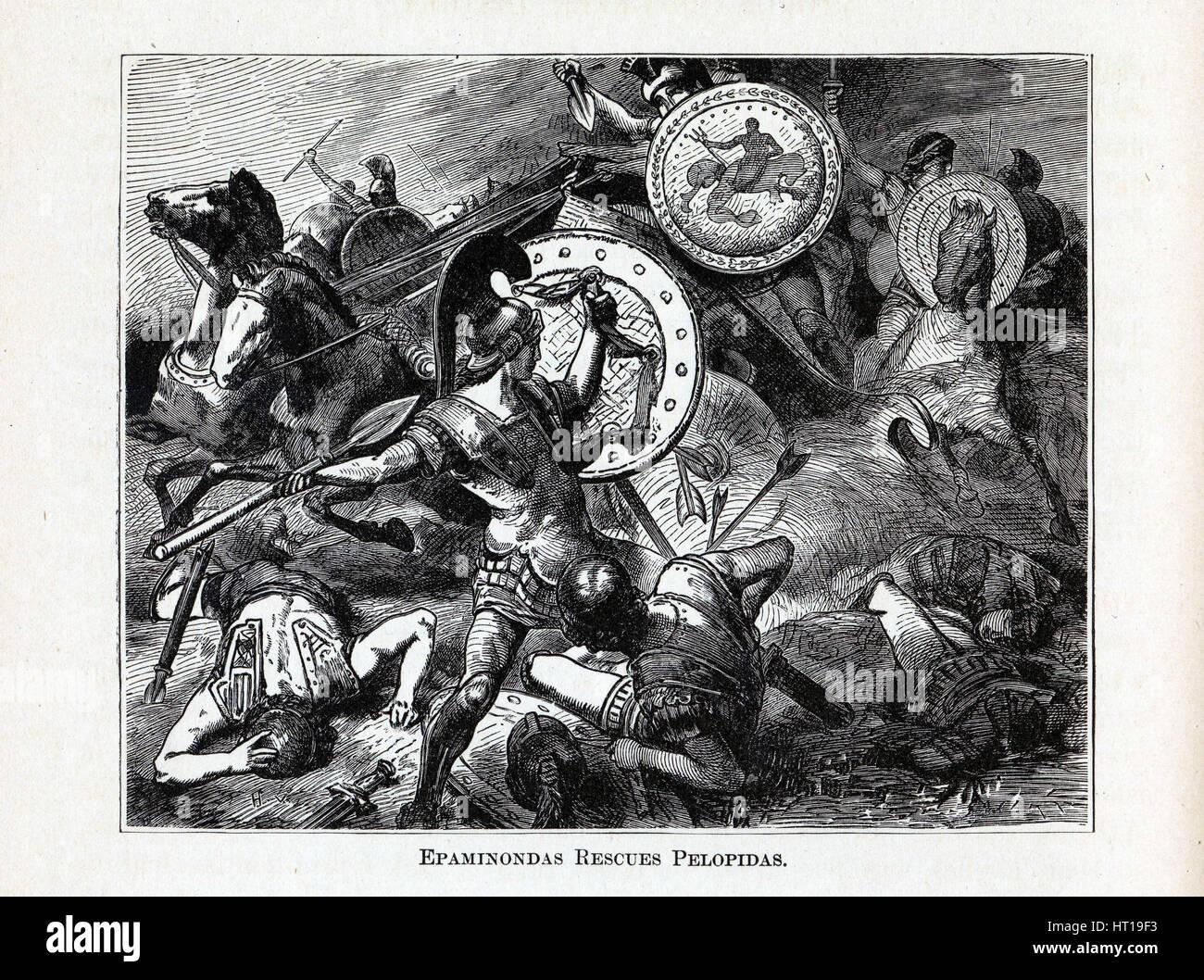 Epaminondas Rescues Pelopidas, 1882. Artist: Vogel, Hermann (1854-1921) - Stock Image
