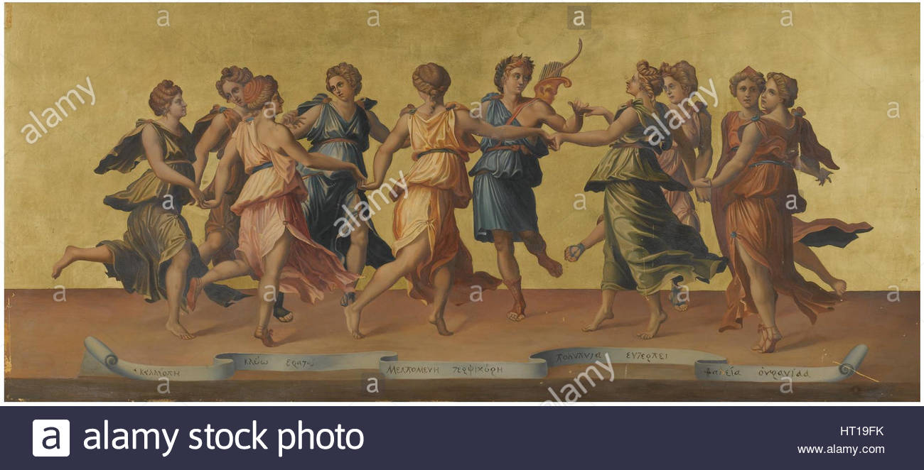 Apollo and the Muses (after Baldassare Peruzzi). Artist: Fottini, Azzolino (active 19th cen.) - Stock Image