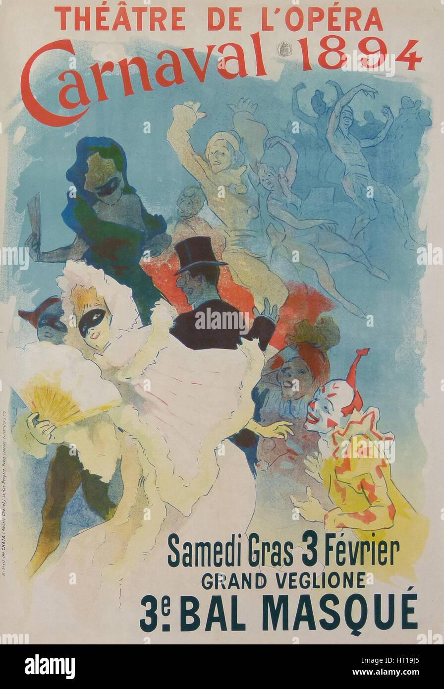 Théâtre de l?Opéra, Carnaval 1894, 1894. Artist: Chéret, Jules (1836-1932) - Stock Image