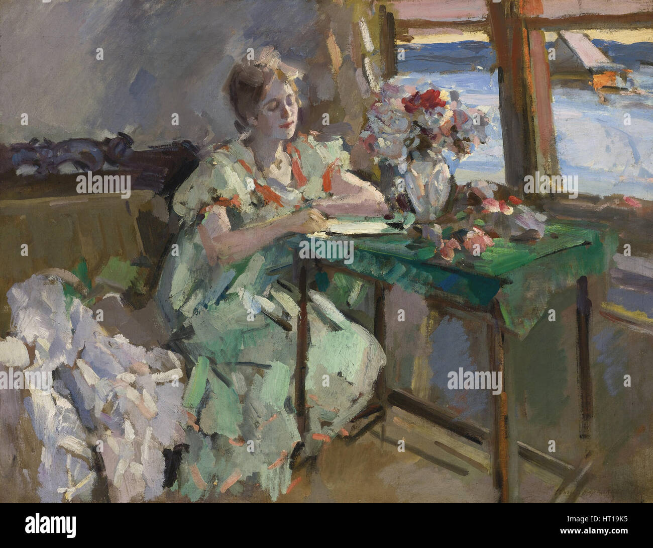At the Window, 1918. Artist: Korovin, Konstantin Alexeyevich (1861-1939) - Stock Image
