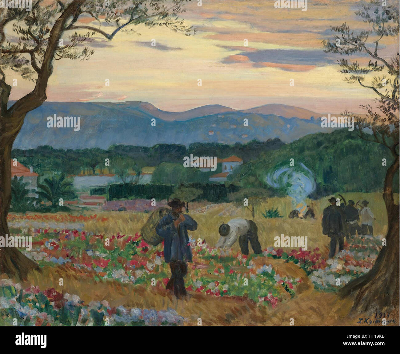 The Harvest Flowers, 1913. Artist: Kustodiev, Boris Michaylovich (1878-1927) - Stock Image
