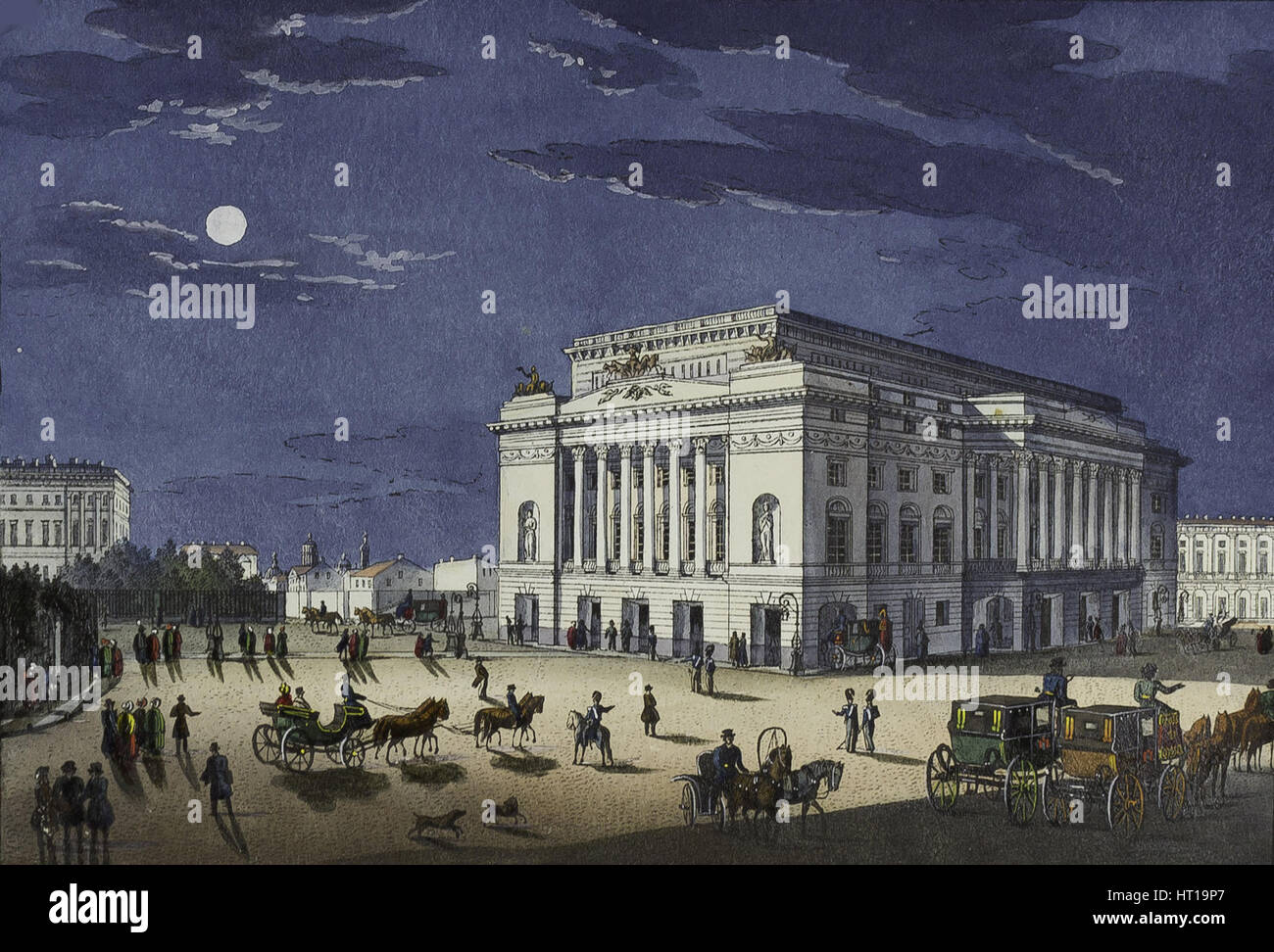 The Alexandrinsky Theatre in Saint Petersburg, First half of the 19th cent.. Artist: Beggrov, Karl Petrovich (1799 - Stock Image