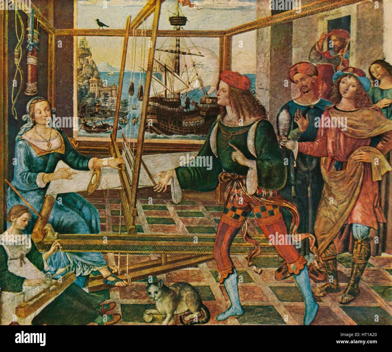 'Penelope with the Suitors', 1509, (1909). Artist: Bernardino Pinturicchio. - Stock Image