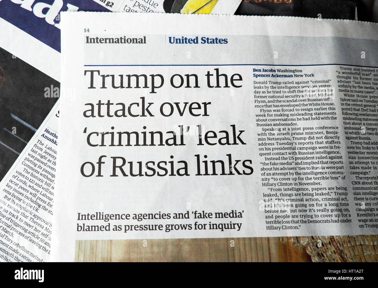 """trump on the attack over 'criminal' leak of russia links"""" guardian"""