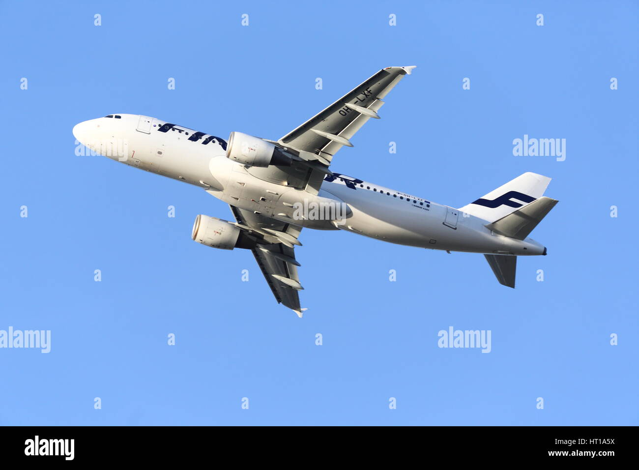 Finnair Airbus A320 OH-LXF departing from London Heathrow Airport, UK - Stock Image
