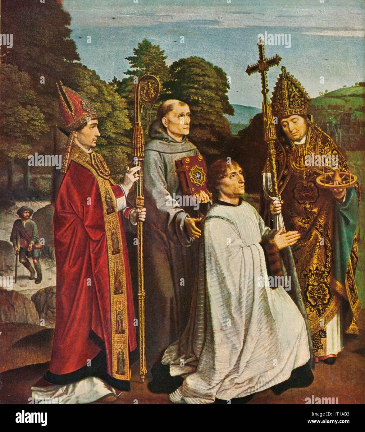 'Canon Bernardijn Salviati and Three Saints', 1501, (1909). Artist: Gerard David. - Stock Image