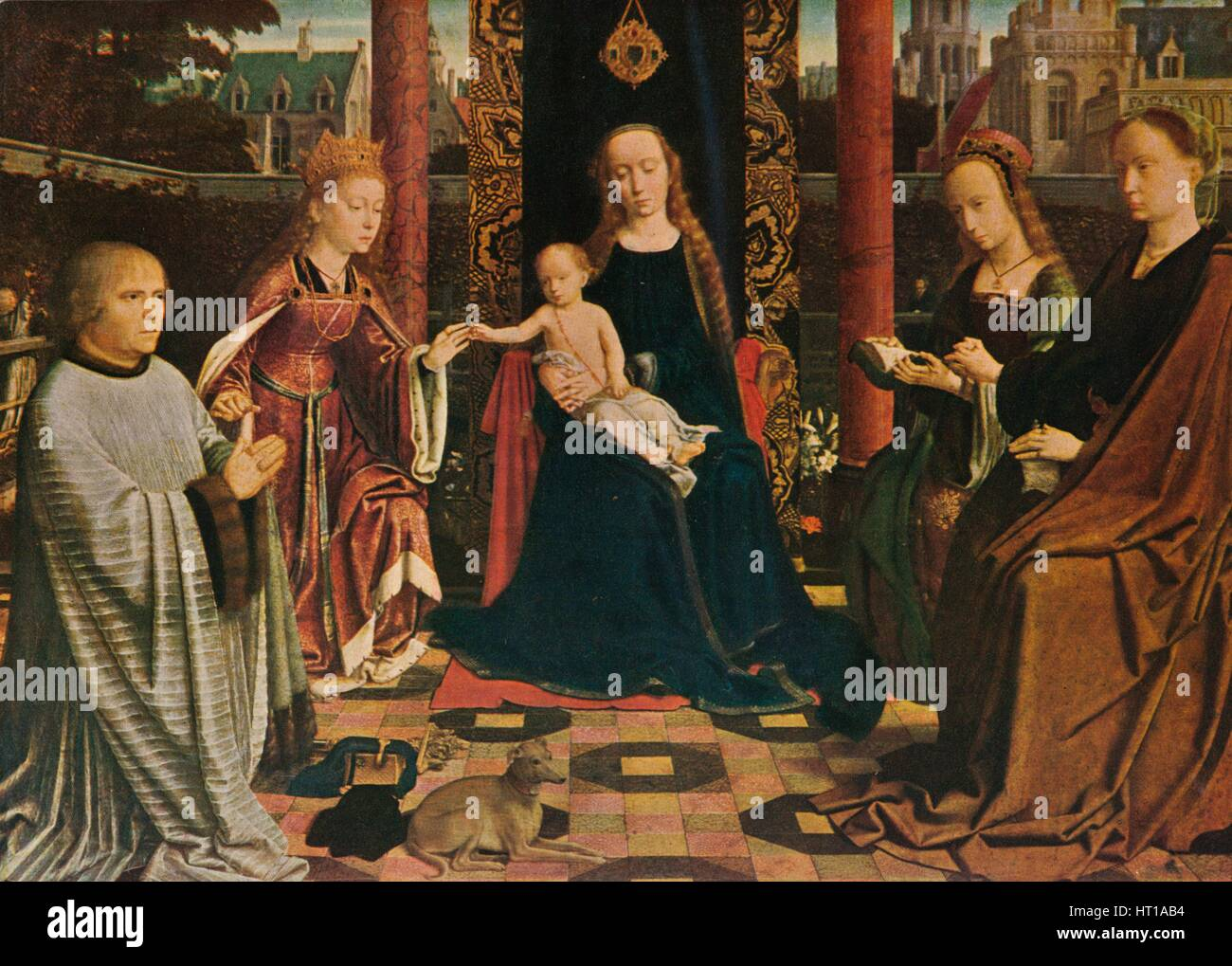 'The Virgin and Child with Saints and Donor', 1510, (1909). Artist: Gerard David. - Stock Image