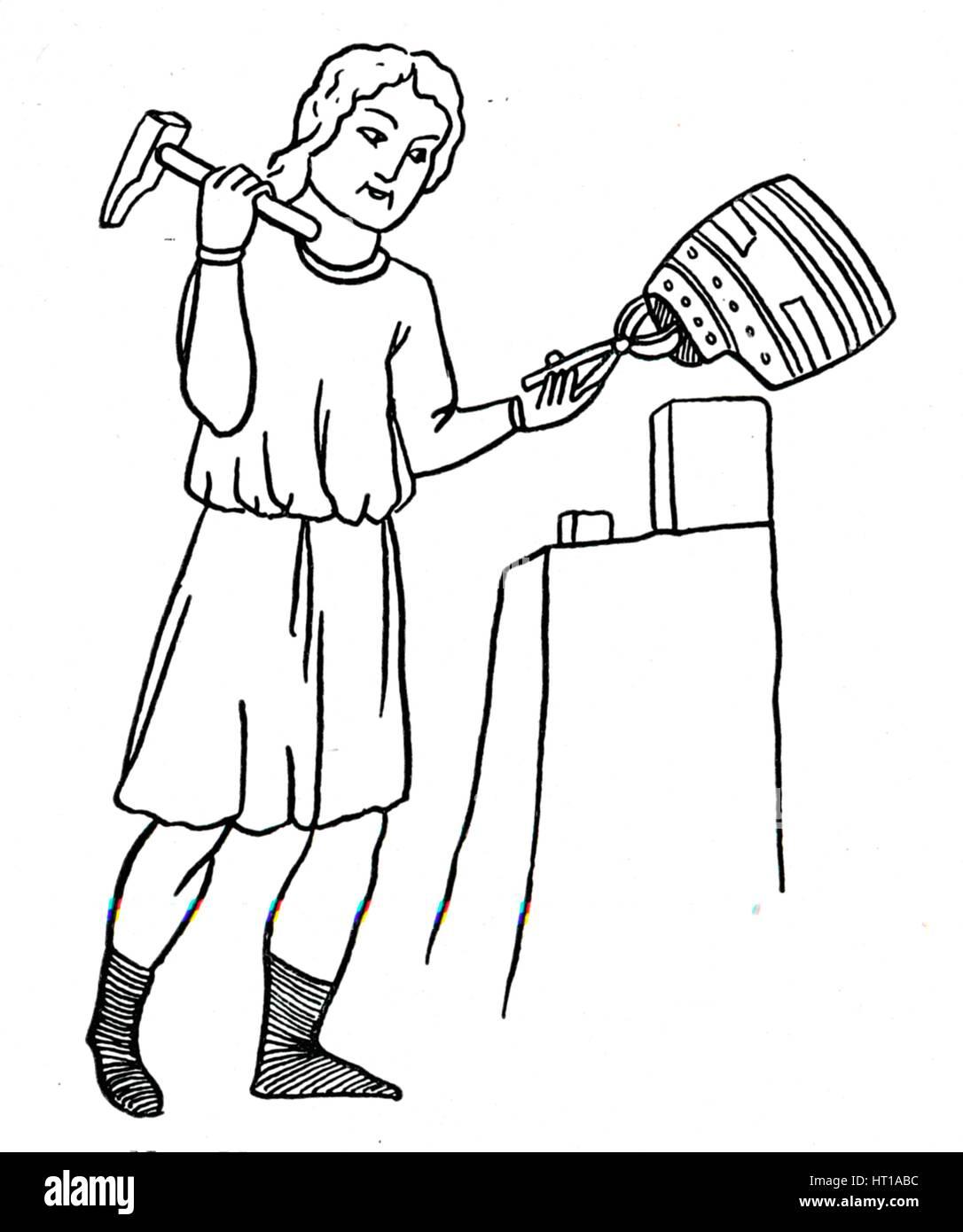 'German Helmsmith at Work', c1515. Artist: Hans Burgkmair, the Elder. - Stock Image