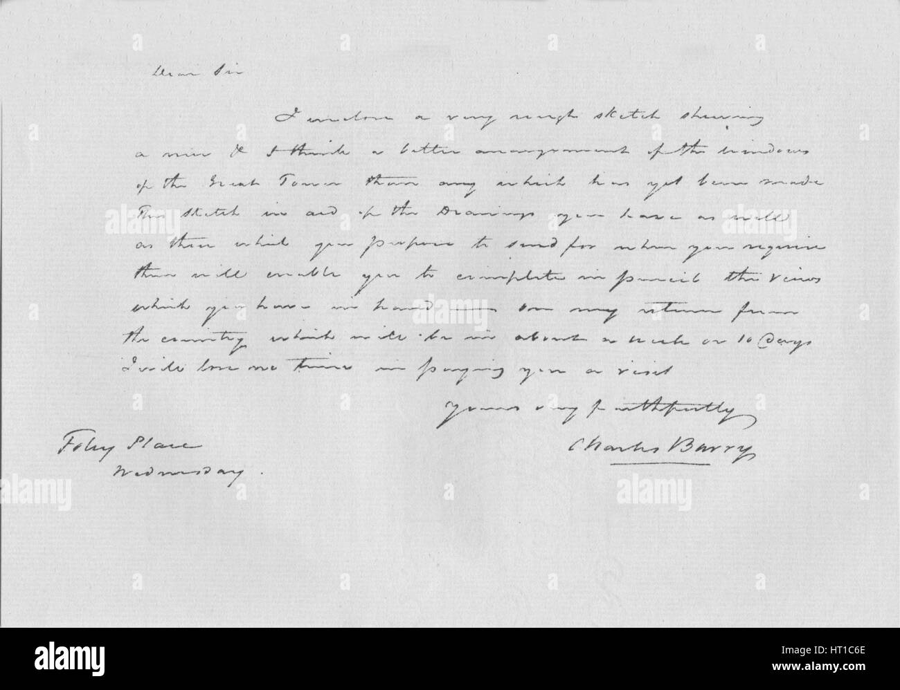 A letter from Charles Barry, c1840 (1904). Artist: Sir Charles Barry. - Stock Image