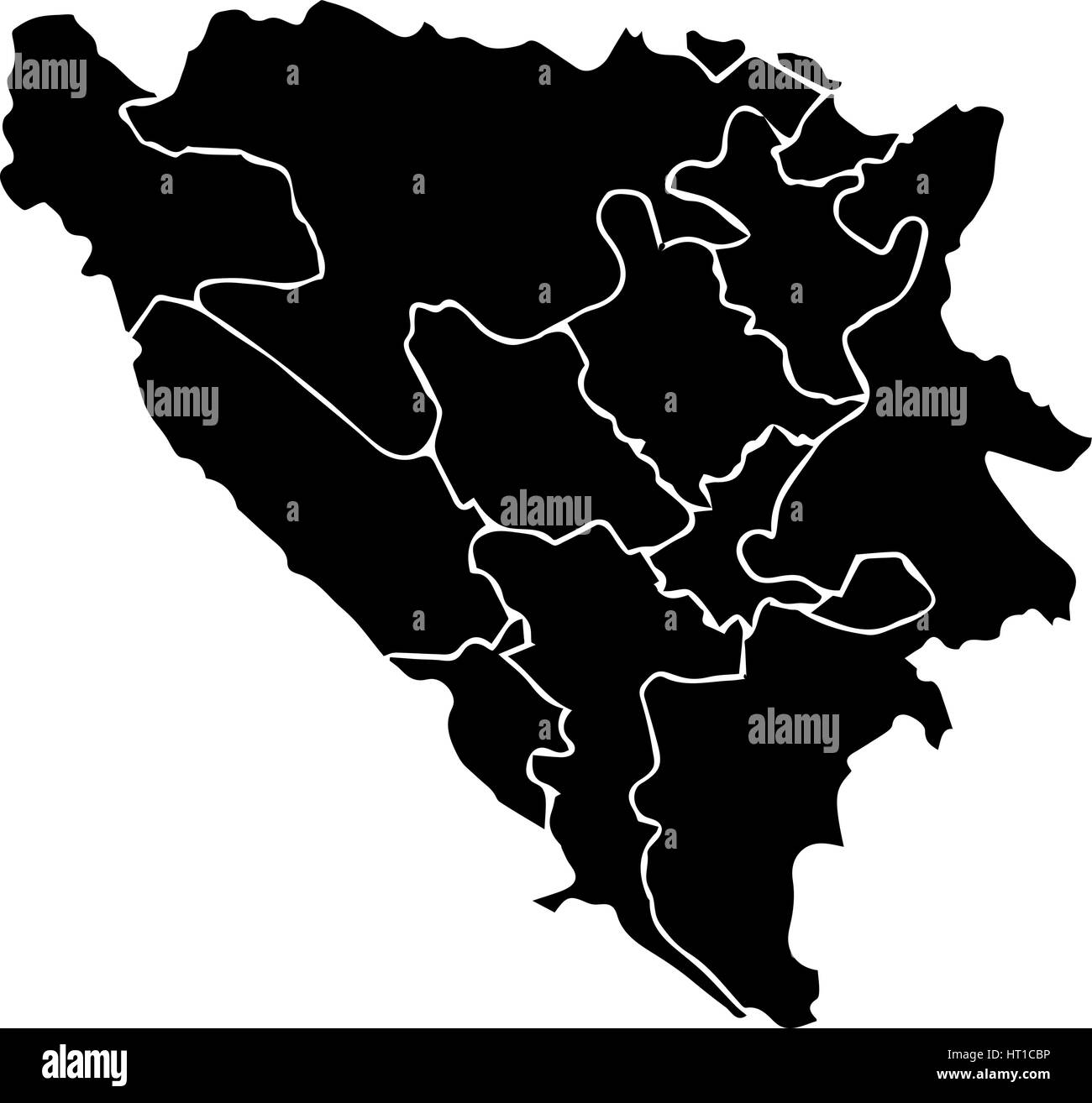 High detailed vector map with counties regions states - Bosnia Herzegovina - Stock Vector
