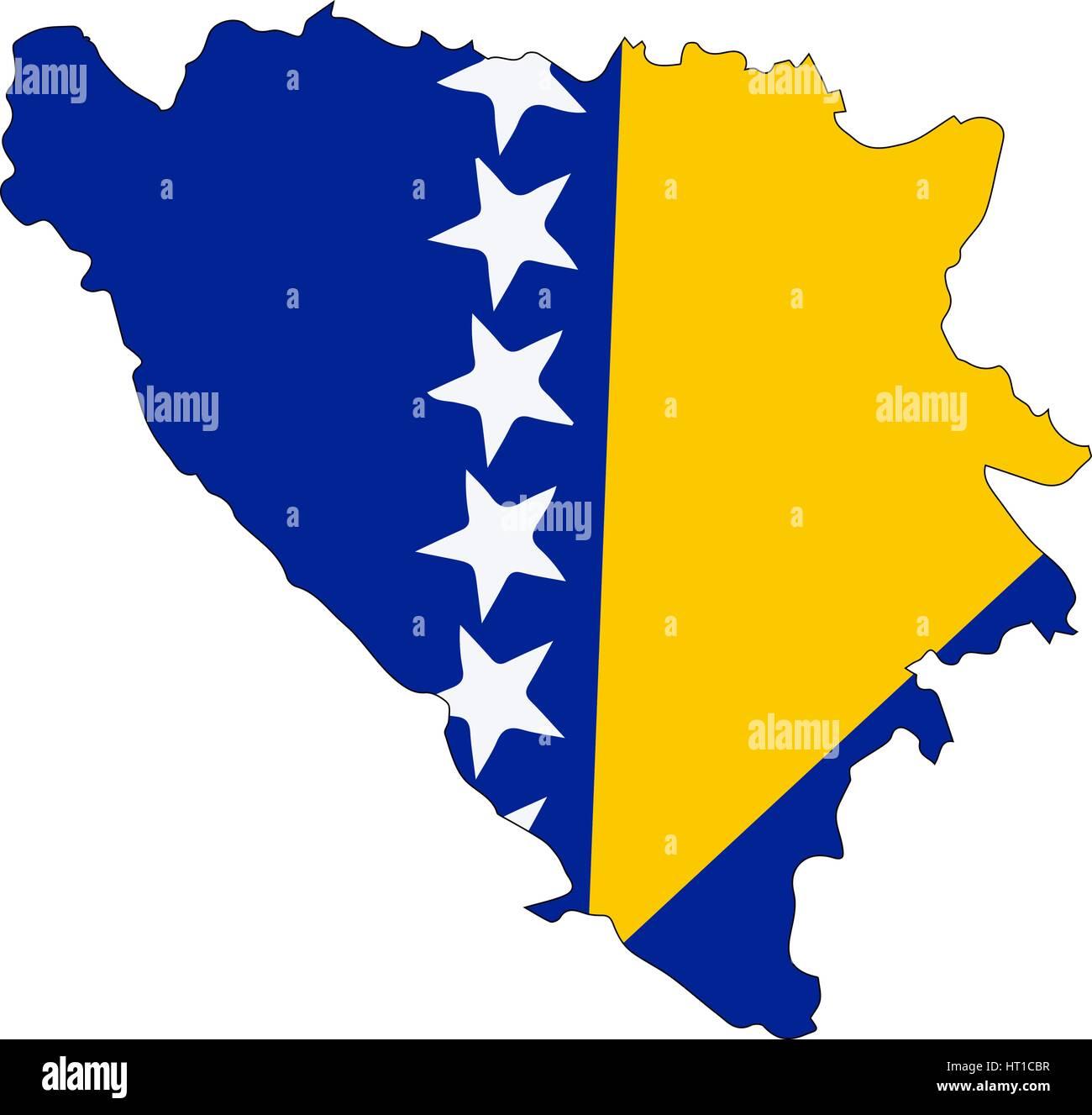 Map of bosnia Herzegovina country on white background. Vector Illustration - Stock Vector