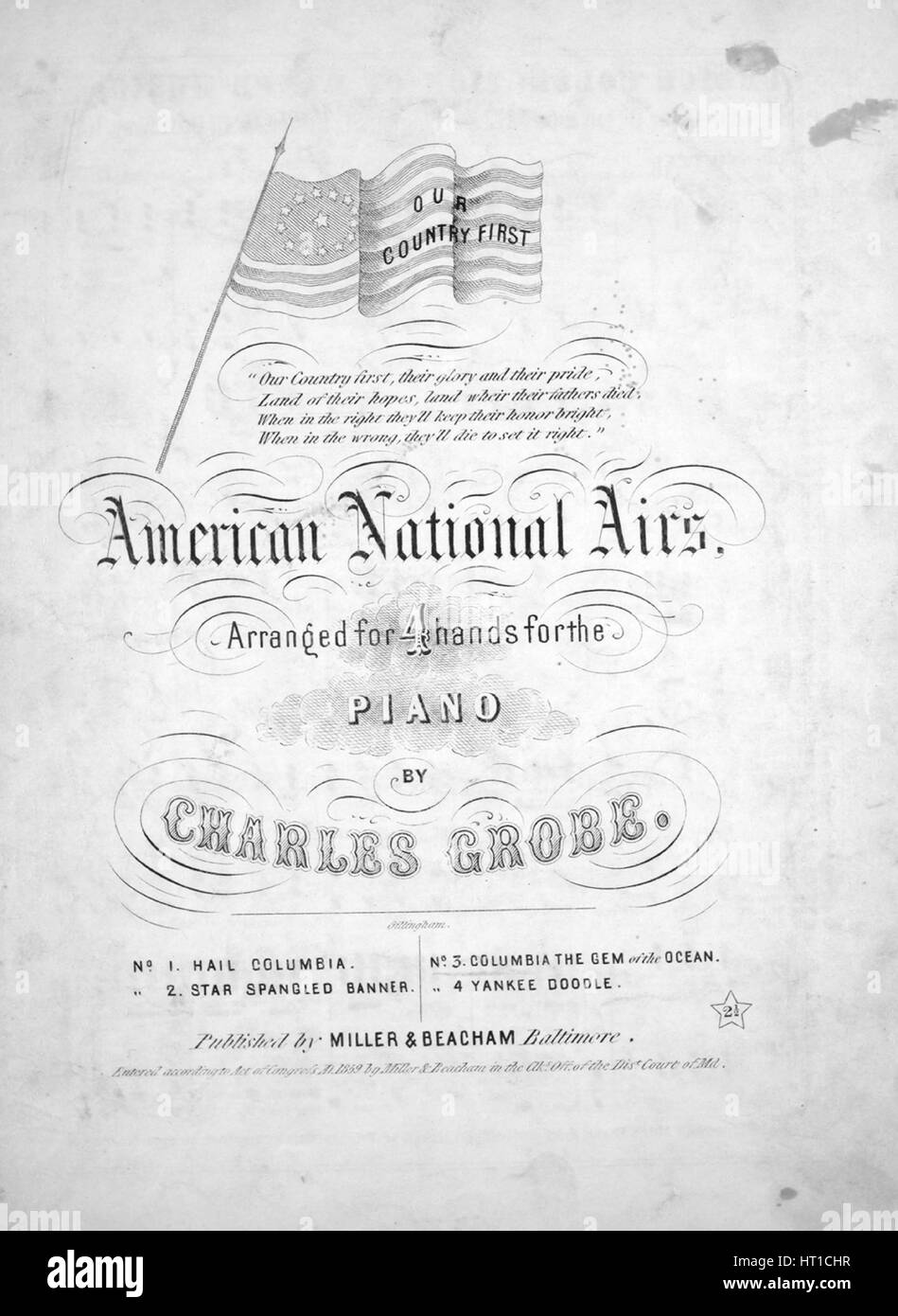 Sheet music cover image of the song 'American National Airs Columbia, Gem of the Ocean', with original authorship - Stock Image