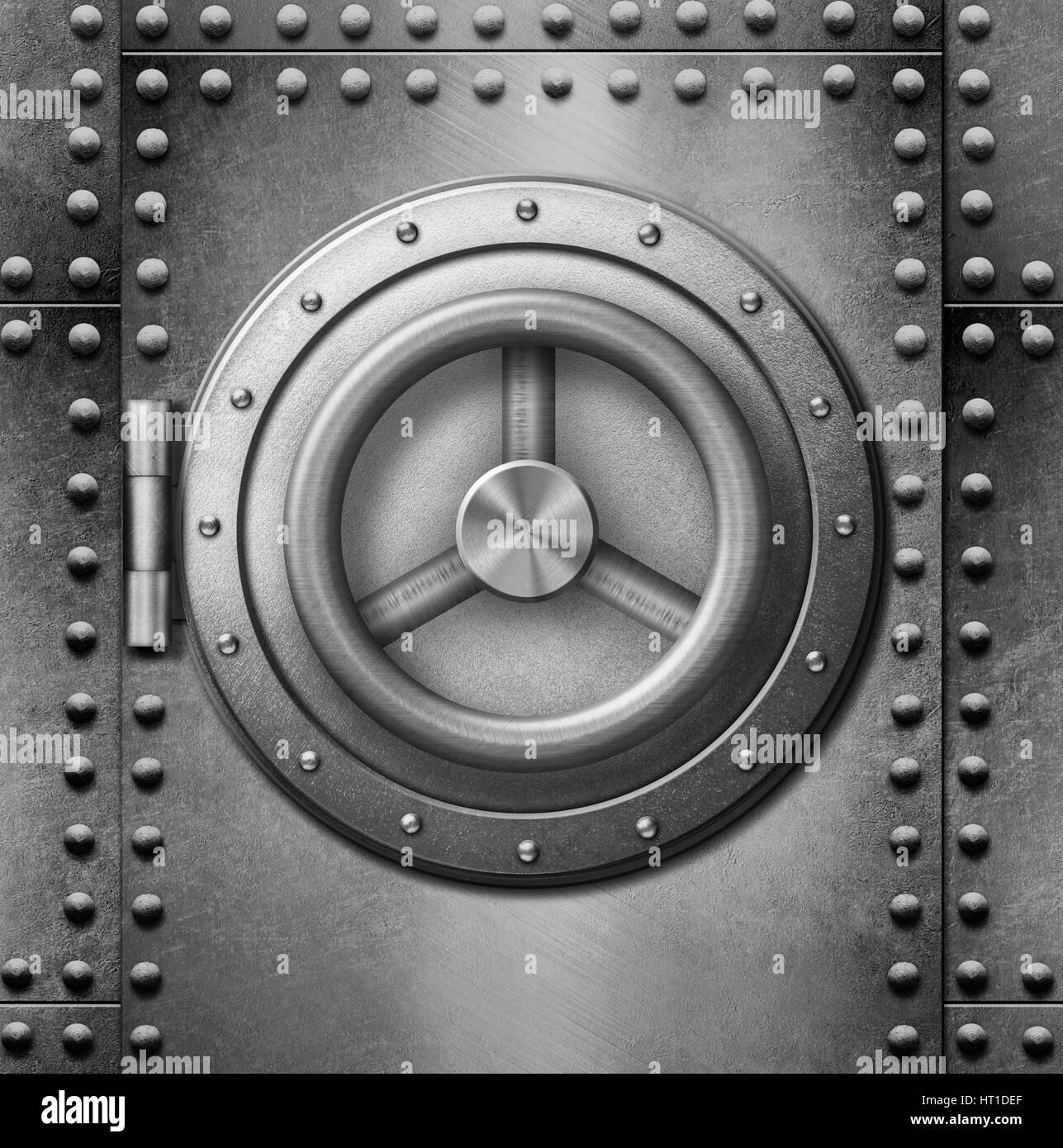 metal safe or door 3d illustration - Stock Image