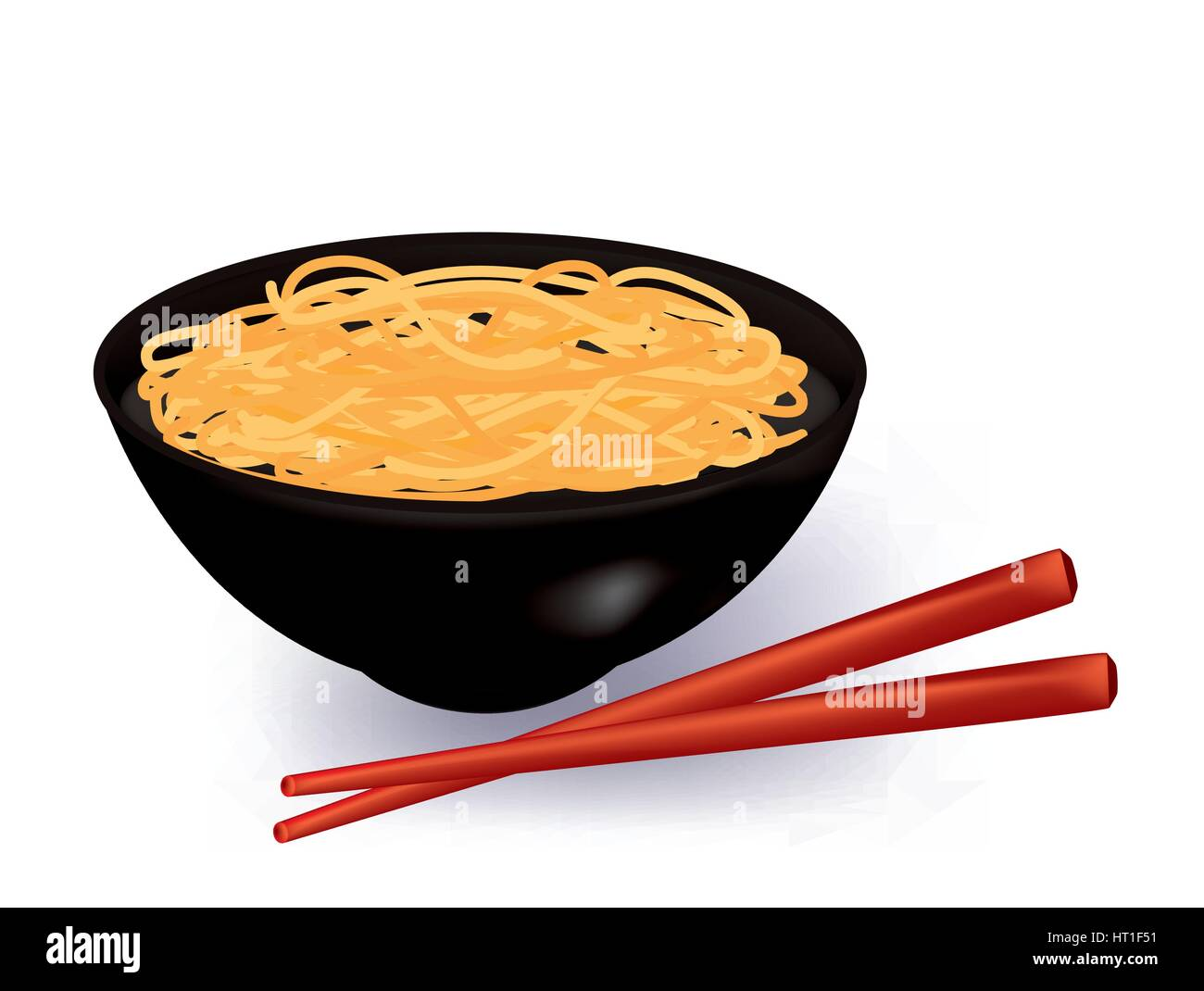 Bowl of noodles soup - Stock Vector