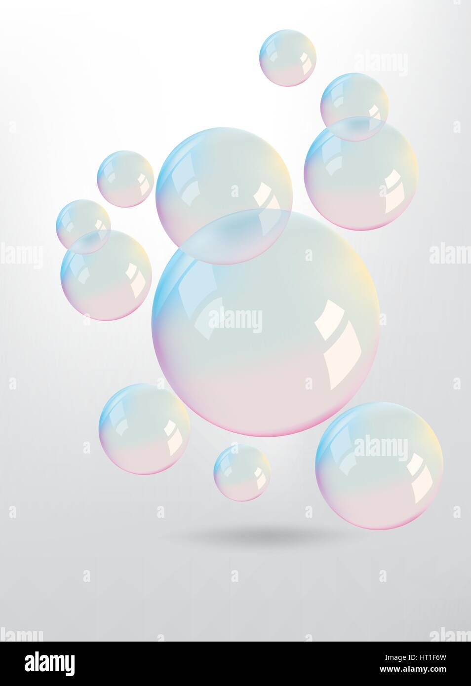 Beautiful colors reflection on the bubbles - Stock Vector