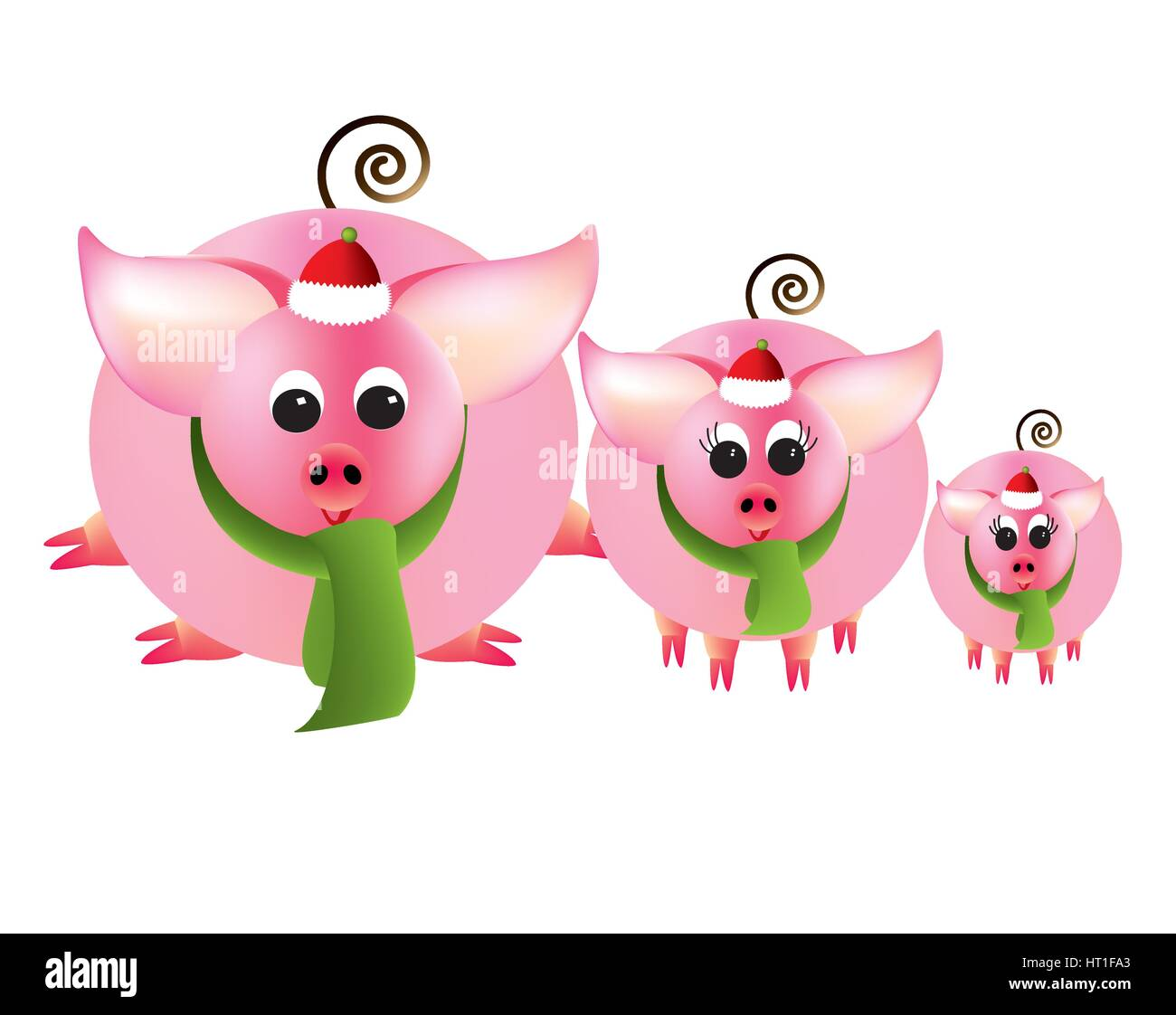 Merry Christmas from three pink piggies - Stock Image