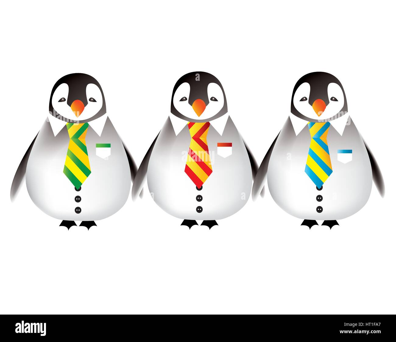 Happy babies penguins going back to nursery - Stock Image