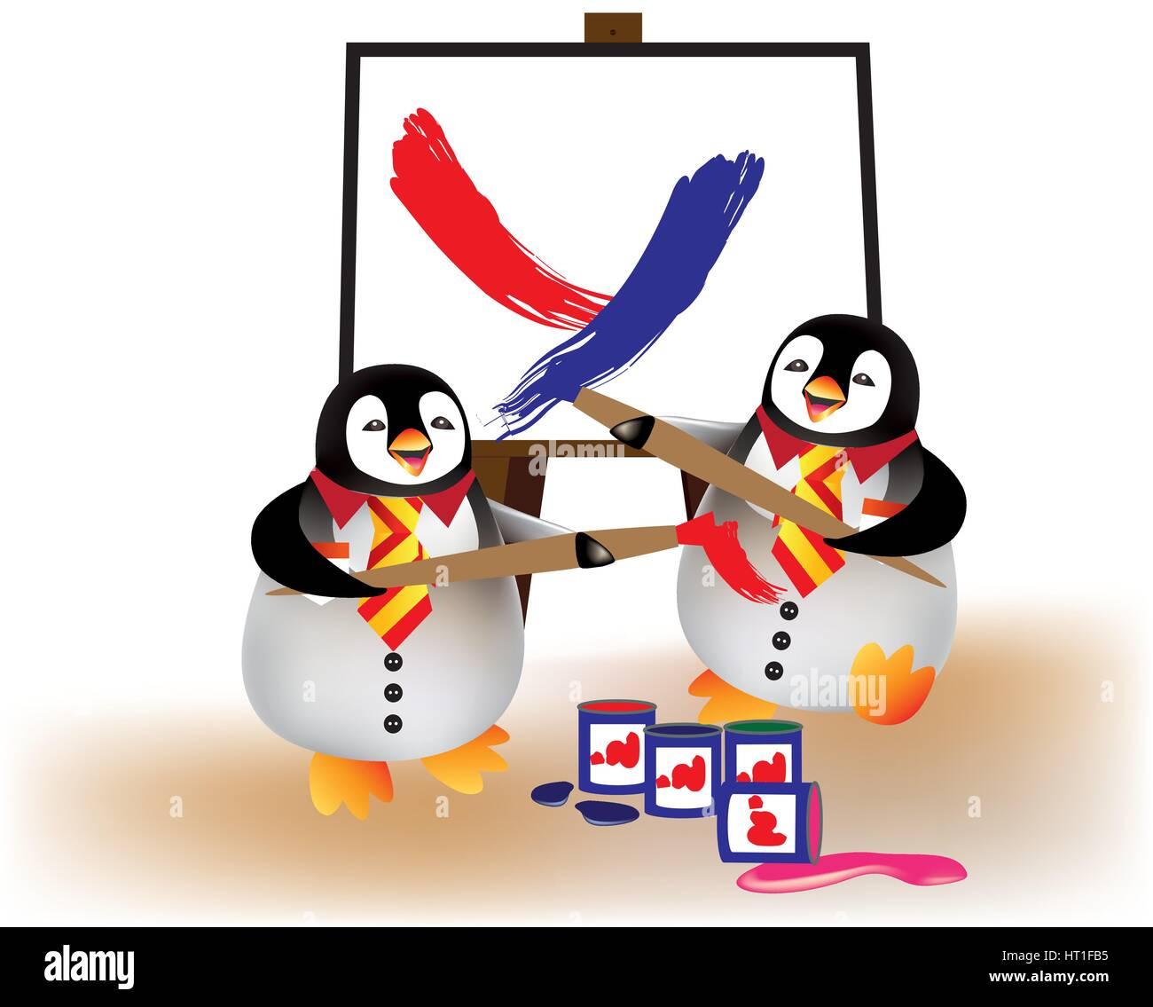 Happy babies penguins going back to nursery - Stock Vector
