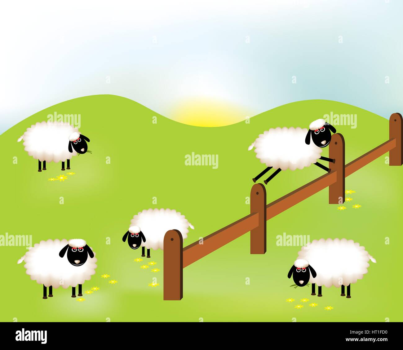 Delightful sheeps - Stock Vector