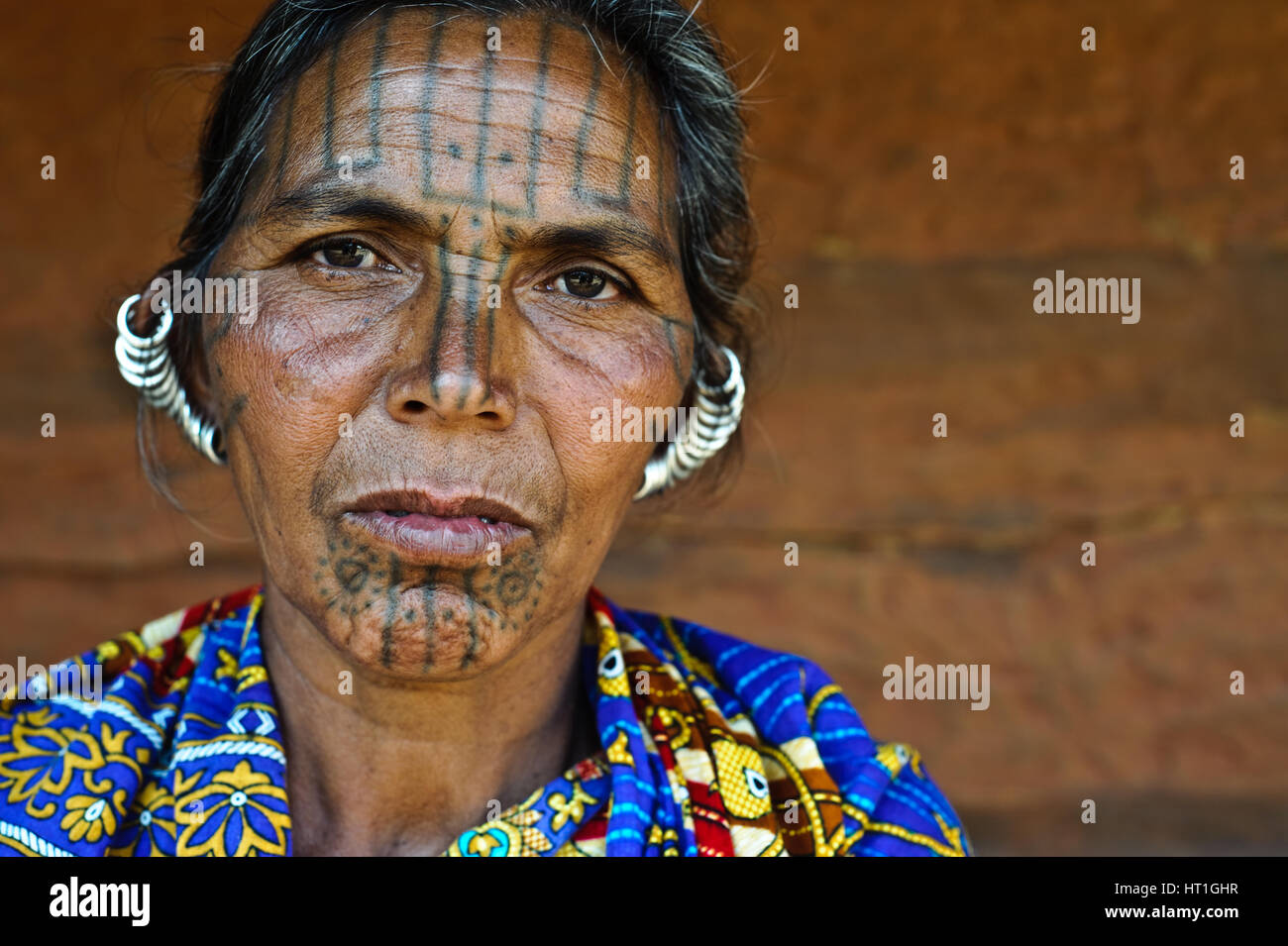 Woman belonging to the Kutia Kondh tribe ( India) - Stock Image