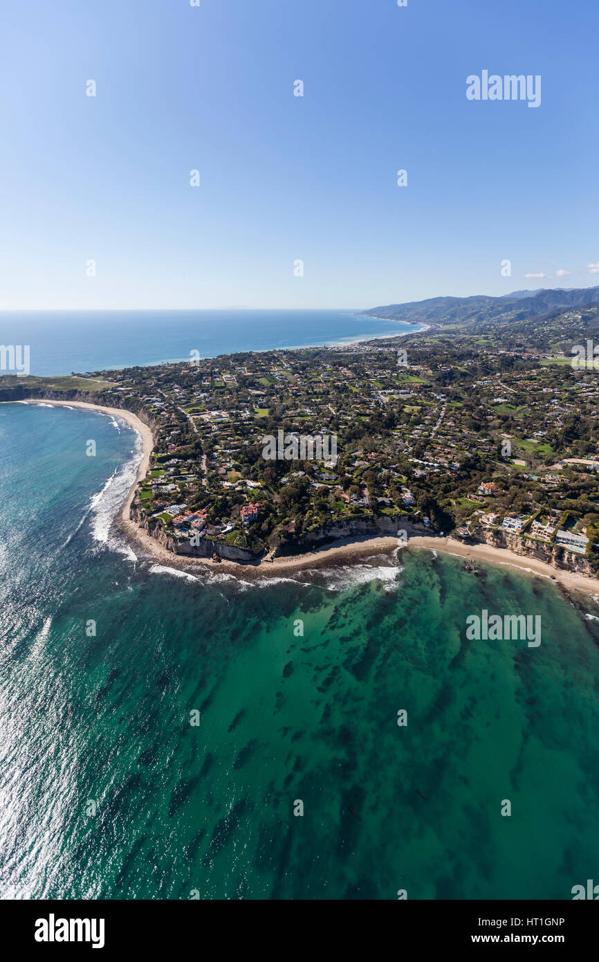 Aerial view of Point Dume and clear Pacific Ocean water in ... Pacific Ocean Water