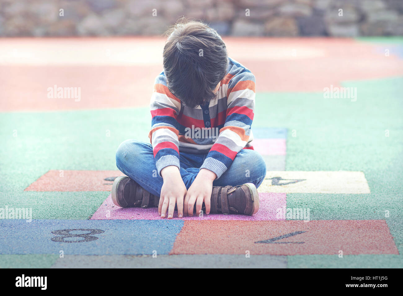 crying boy - Stock Image