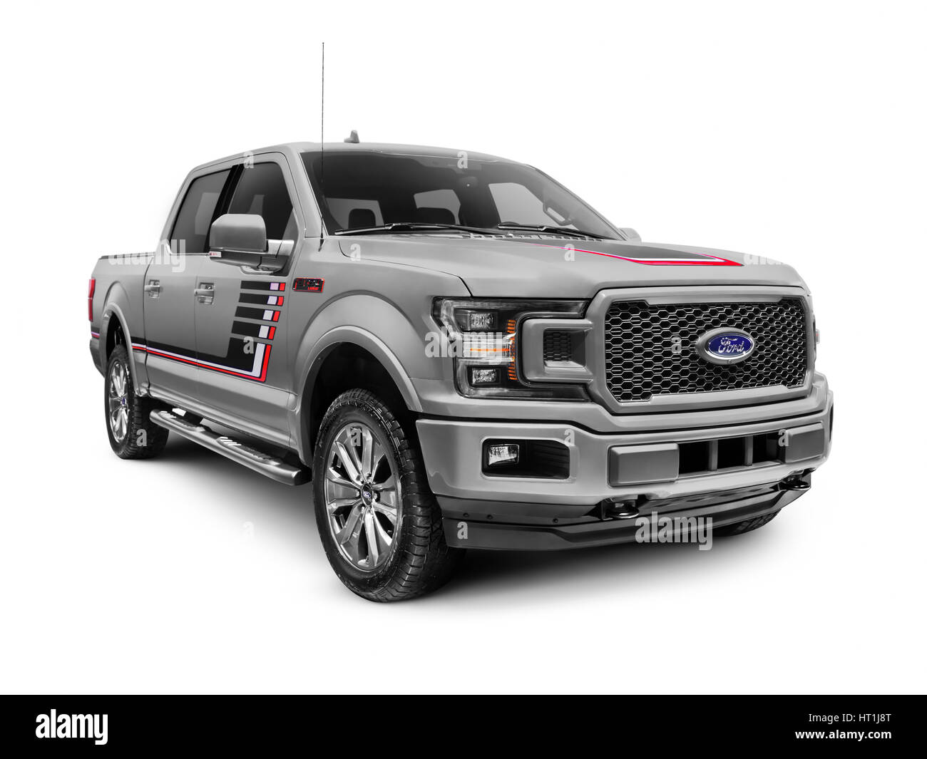 Gray 2018 Ford F-150 Lariat pickup truck isolated on white background - Stock Image
