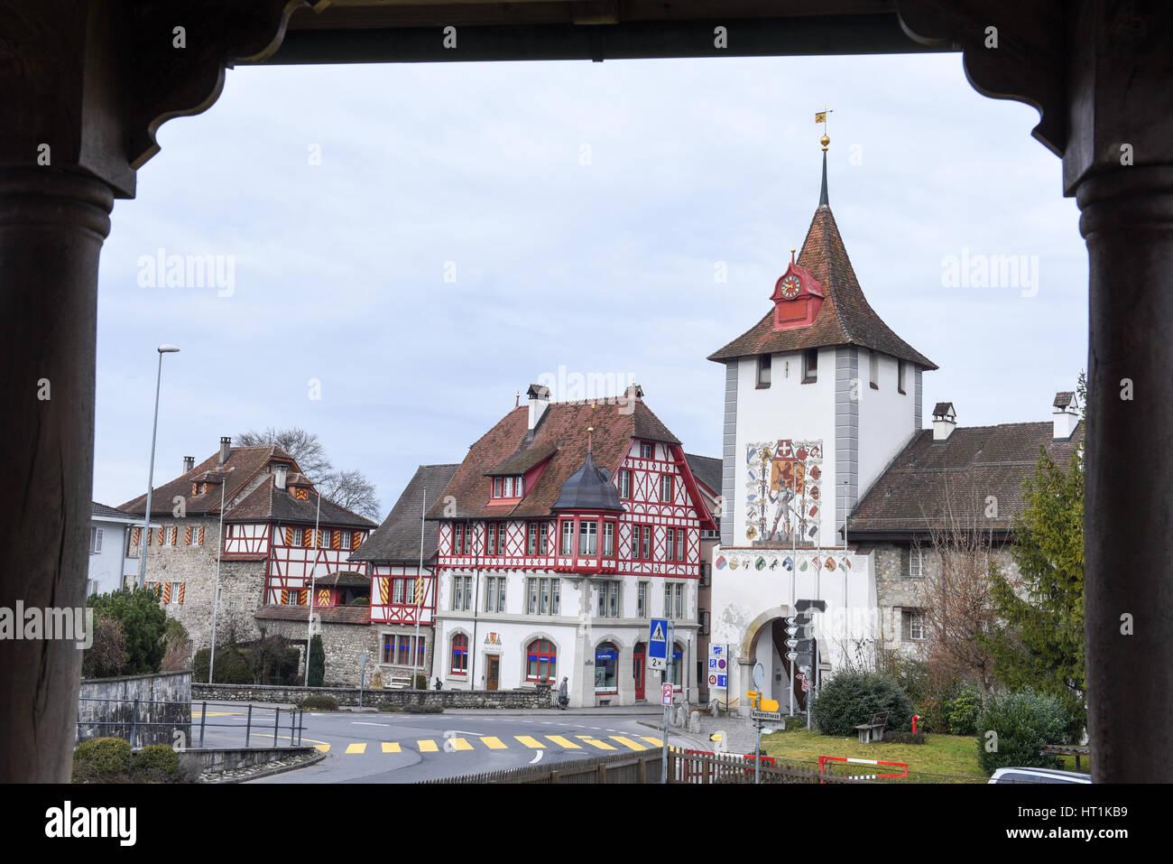 Sempach, Switzerland - 4 March 2017: medieval houses of the village of Sempach on Switzerland Stock Photo