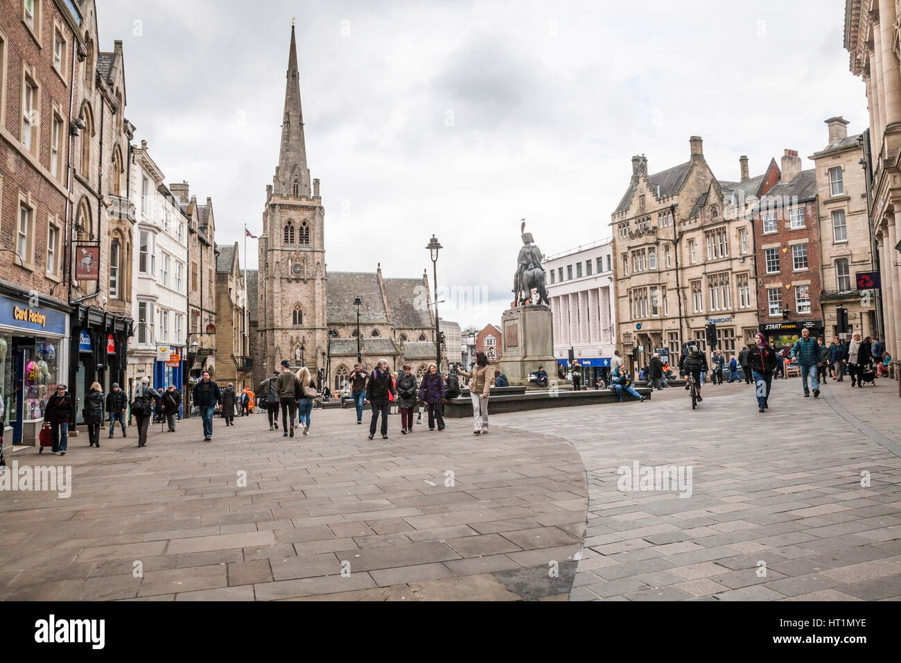 The Busy Market Square In Durham City Center England Uk Stock Photo