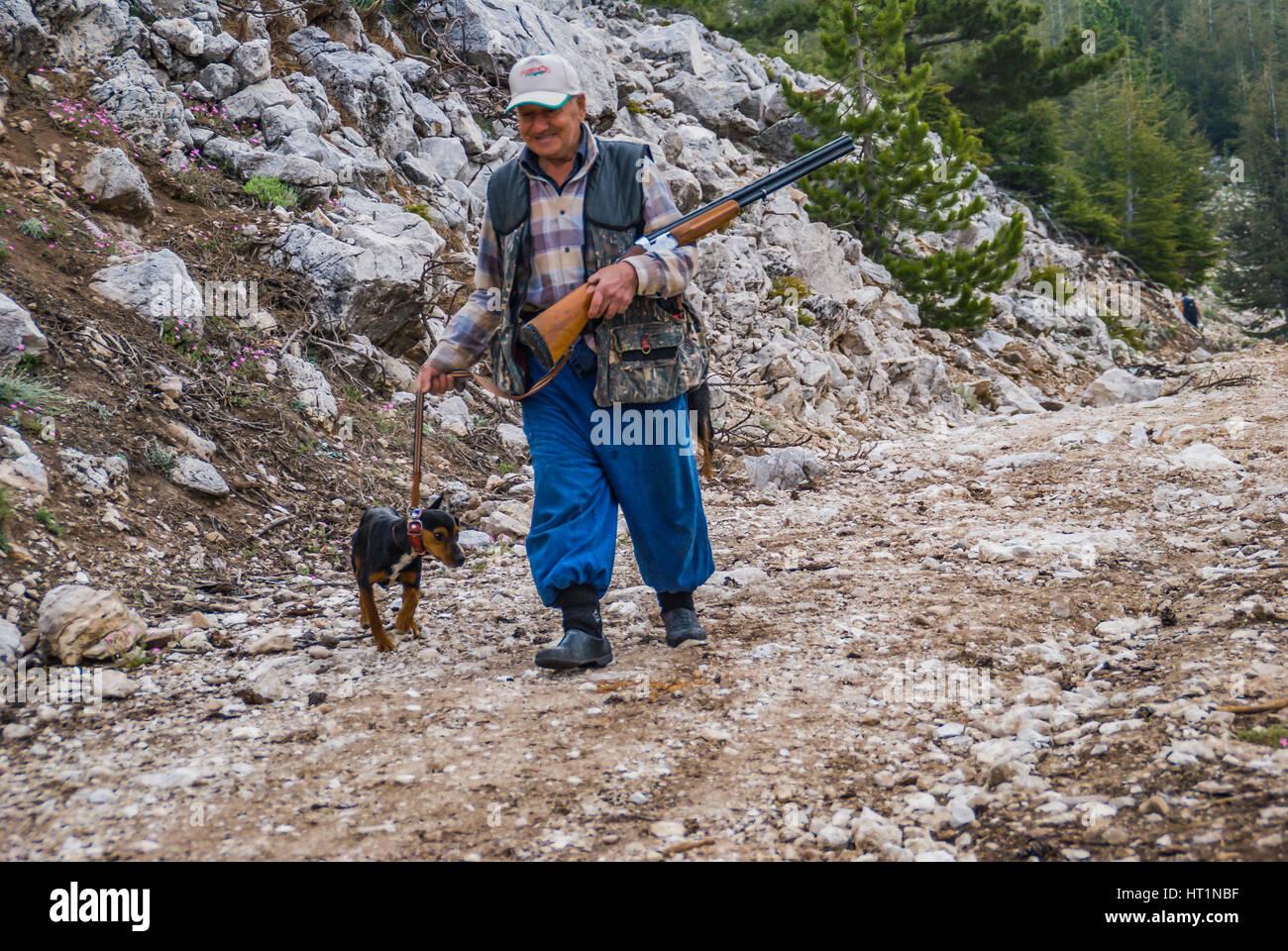 hunter with his dog and gun hunting - Stock Image