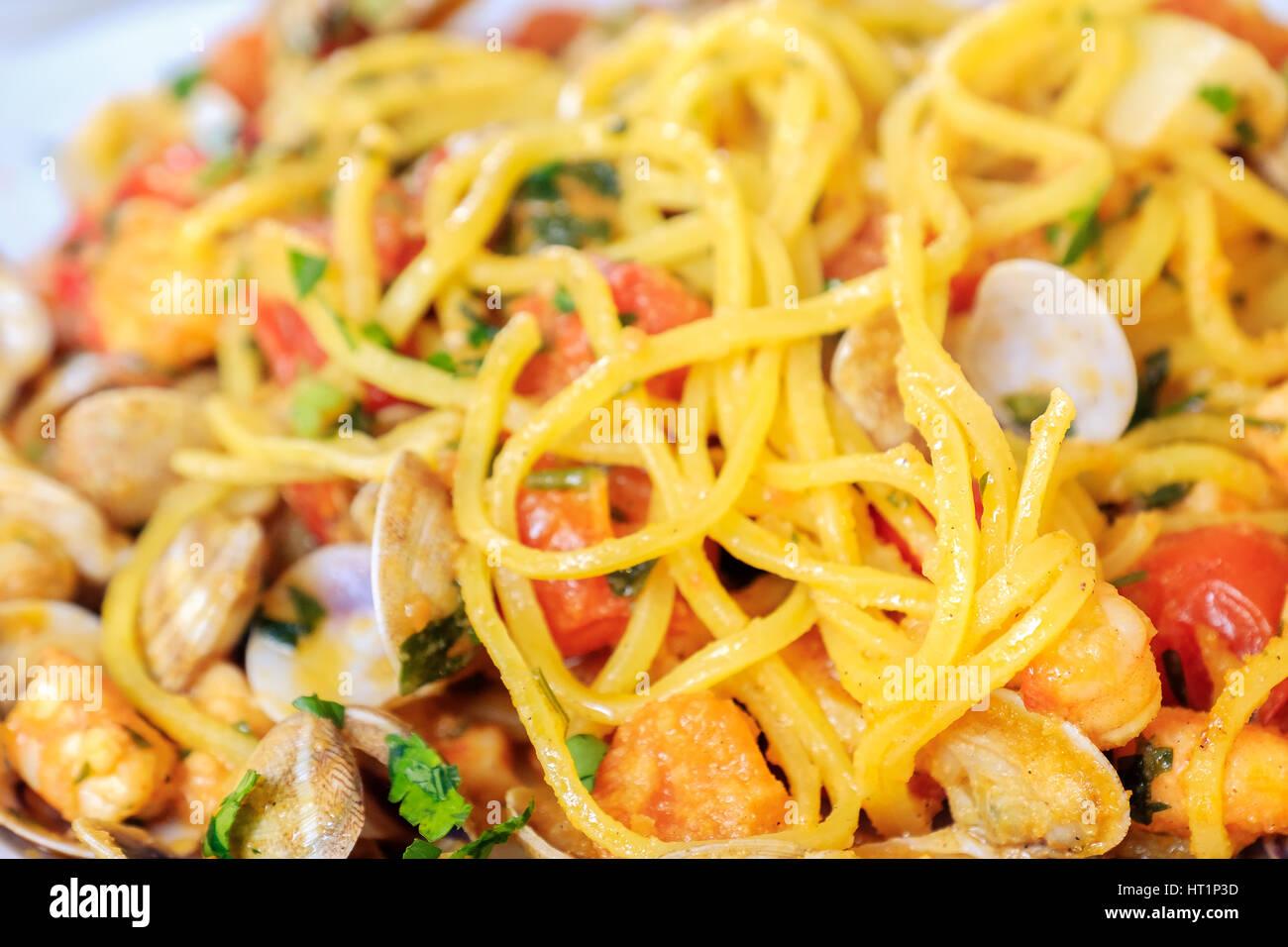 spaghetti alla chitarra Abruzzo pasta closeup italian seafood - Stock Image