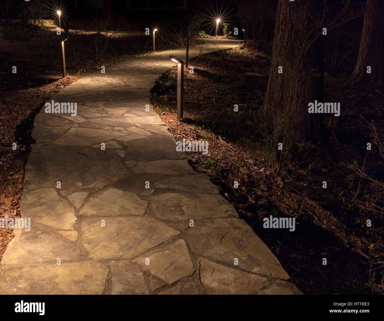 Illuminated Stone Path - Stock Image