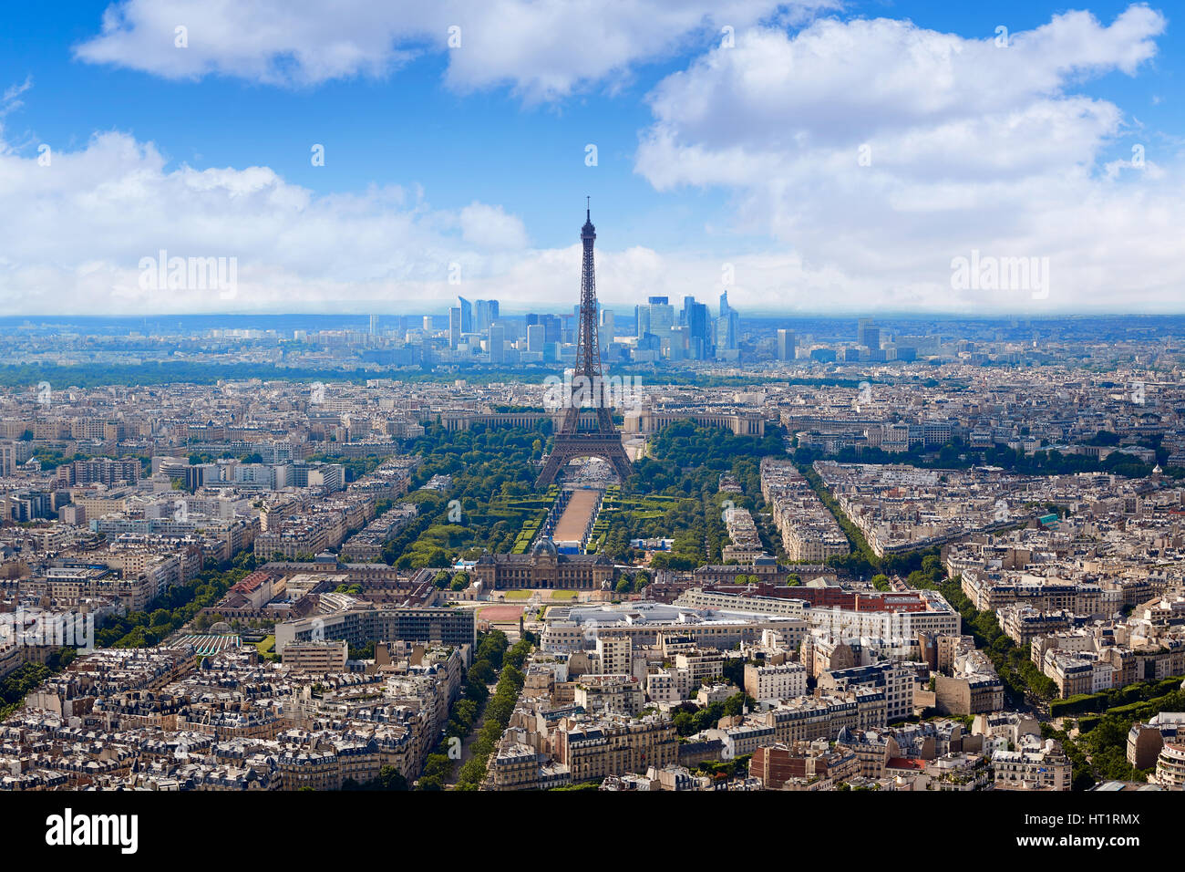 Paris Eiffel tower and skyline aerial view in France Stock Photo