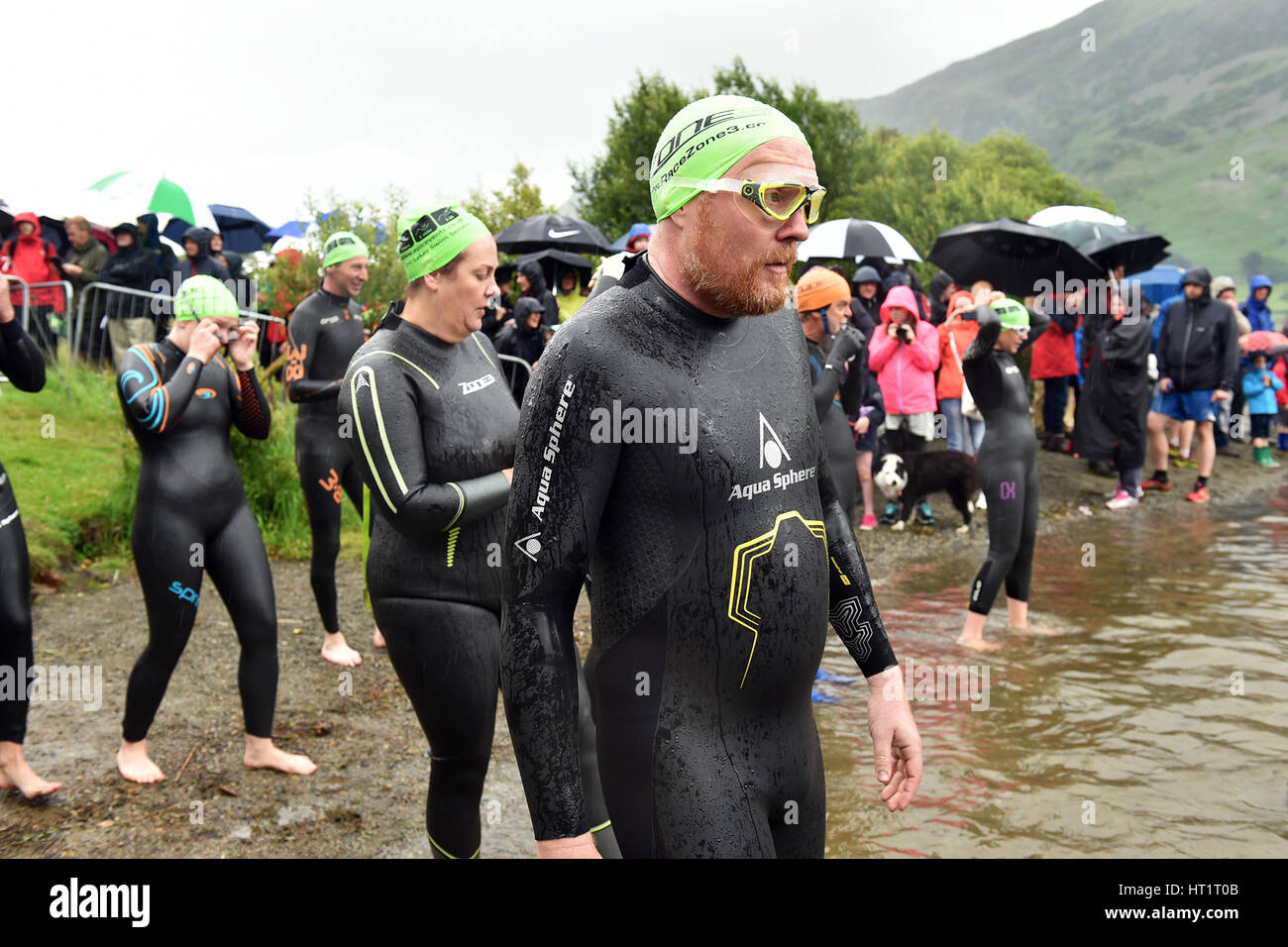 Open Water Swimming Event  Ullswater lake, Cumbria UK - Stock Image