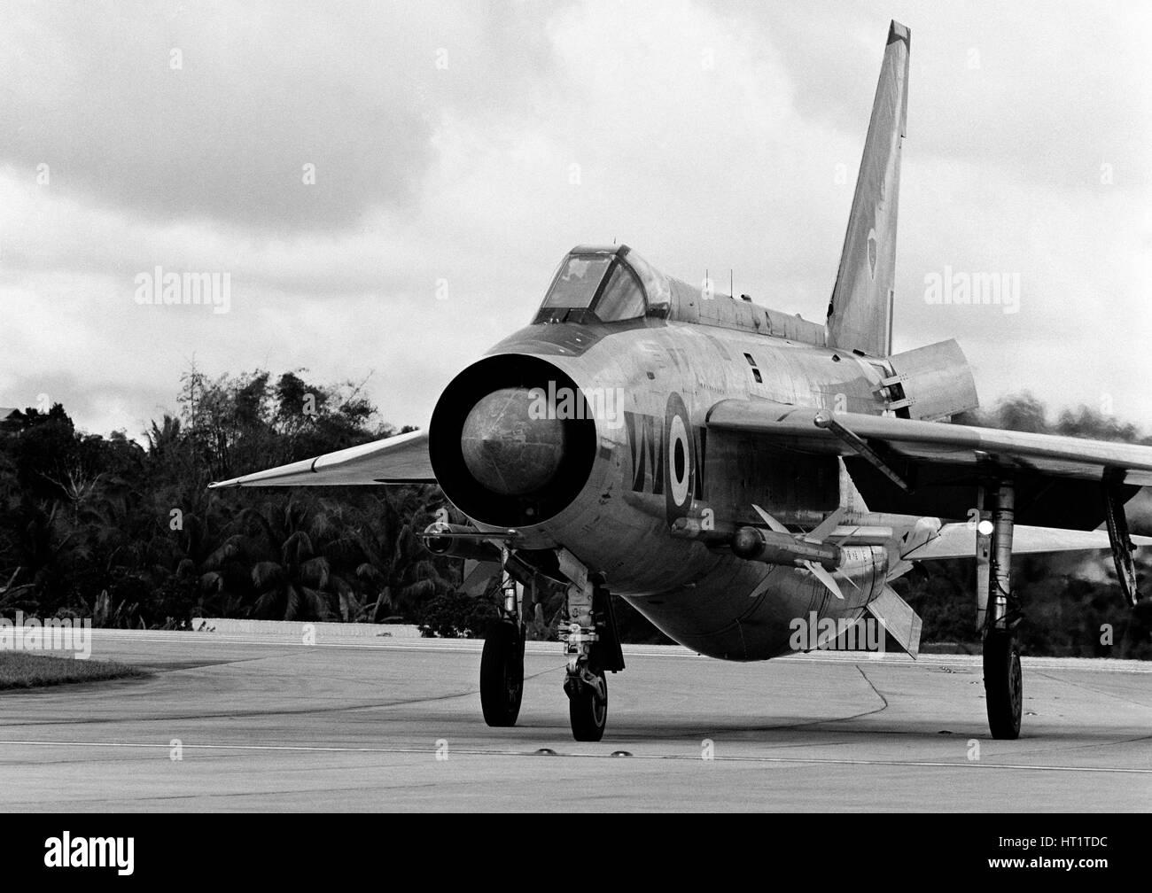 English Electric Lightning F6 Fighter/Interceptor aircraft. at RAF Tengah, Singapore Stock Photo