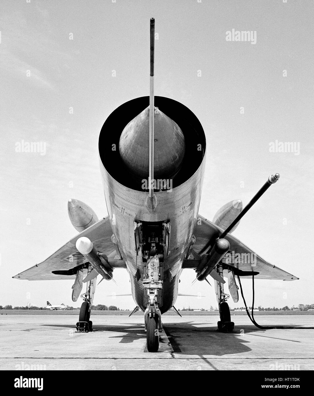 English Electric Lightning F6 Fighter/Interceptor aircraft, complete with overwing fuel tanks. - Stock Image