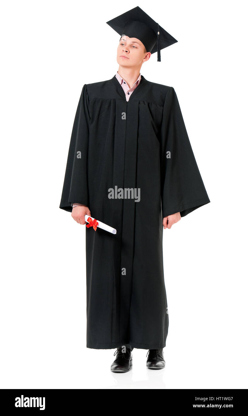 Portrait of man in an academic gown holding a diploma - graduate guy ...